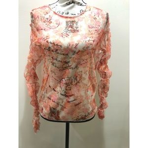 NWT Zara Sheer Floral Ruched Top Sz M